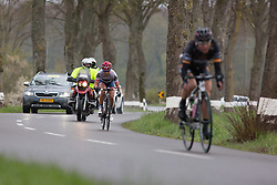 Carmen Small (USA) of Cervélo-Bigla Cycling Team joins Giorgia Bronzini (ITA) of Wiggle Hi5 Cycling Team in the breakaway after in the first short lap of the first, 106.9km road race stage of Elsy Jacobs - a stage race in Luxembourg, in Steinfort on April 30, 2016