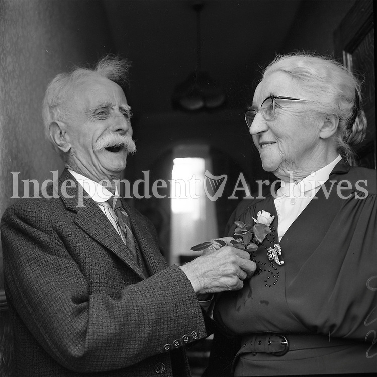Mr. and Mrs. Doyle, noted as being  of Clanbrassil Street Upper by photographer, on the occasion of their 55th wedding anniversary on June 10 1964.<br />