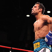 Luis Carlos Abregu celebrates after beating Thomas Dulorme by TKO in the 7th round for the WBC International title during the HBO Triple Explosion fight at the Turning Stone Resort Casino in Verona, NY, on Saturday, Oct 27, 2012. (AP Photo/Alex Menendez)