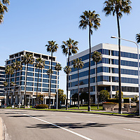 Photo of Newport Beach office buildings in Orange County California. Photo is high resolution and was taken in 2012.