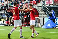 Alkmaar, 19-08-2017, AZ - ADO Den Haag, AZ speler Wout Weghorst, AZ speler Guus Til