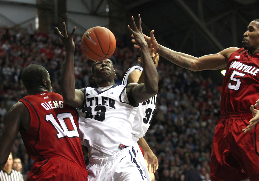 November 19, 2011: Butler's Khyle Marshall loses control of the ball  against Louisville at Hinkle Fieldhouse in Indianapolis, Ind. Louisville won 69-53.