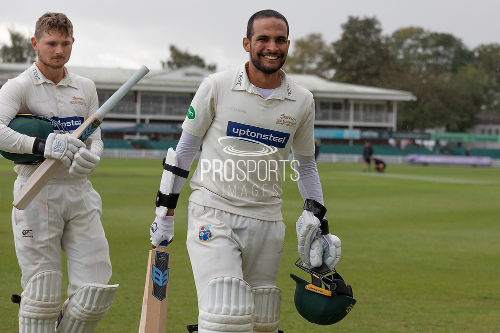 Hassan Azad finishes not out 83 during the Specsavers County Champ Div 2 match between Leicestershire County Cricket Club and Lancashire County Cricket Club at the Fischer County Ground, Grace Road, Leicester, United Kingdom on 26 September 2019.