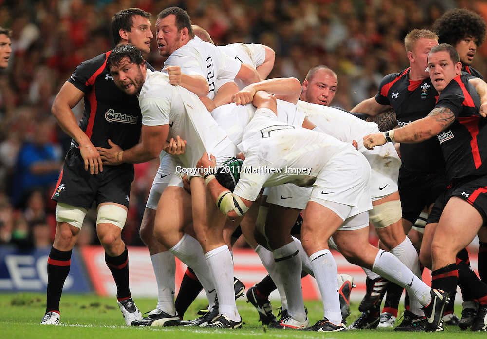 The England scrum causes havoc in the first half. Wales v England, Millennium Stadium, Cardiff, Rugby Union, 12/08/2011 © Matthew Impey/Wiredphotos.co.uk. tel: 07789 130 347 email: matt@wiredphotos.co.uk