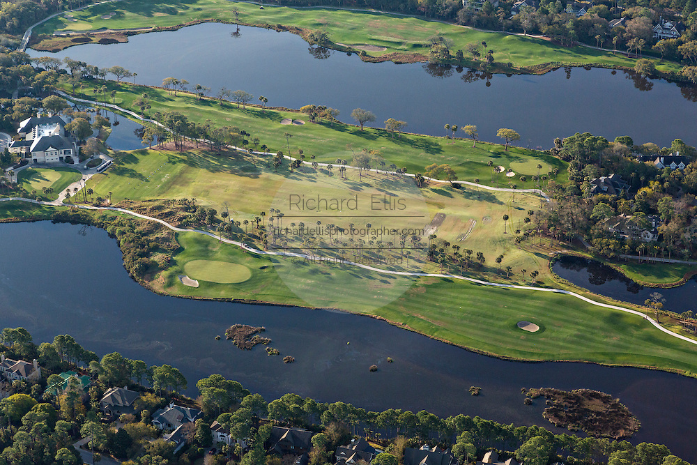 Aerial view of Osprey Point Golf Club and clubhouse in Kiawah Island, SC.