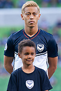 MELBOURNE, VIC - MARCH 05: Keisuke Honda (4) of Melbourne Victory looks on prior to the start of the match during the AFC Champions League soccer match between Melbourne Victory and Daegu FC on March 05, 2019 at AAMI Park, VIC. (Photo by Speed Media/Icon Sportswire)