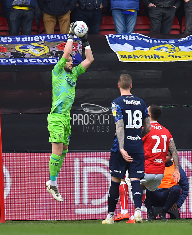Kiko Casilla (33) of Leeds United claims the ball during the EFL Sky Bet Championship match between Bristol City and Leeds United at Ashton Gate, Bristol, England on 9 March 2019.