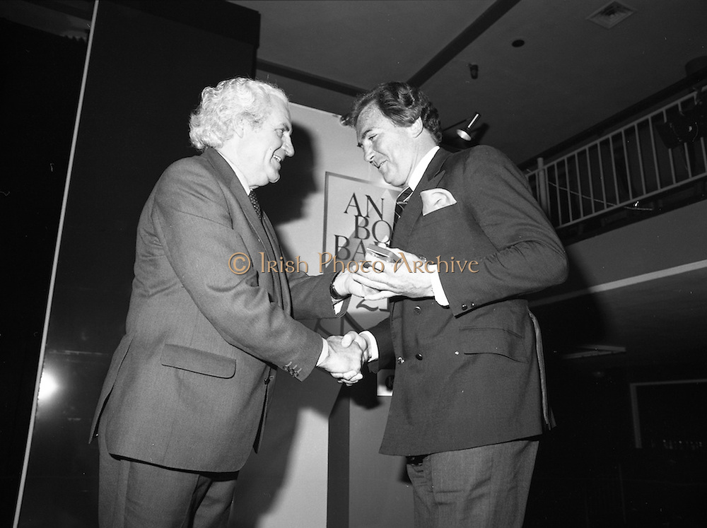 31/05/1982<br /> 05/31/1982<br /> 31 May 1982 <br /> Bord Bainne 21st anniversary. Leading representatives of the Dairy industry, farming organisations, business and Government attended a special luncheon in the Shelbourne Hotel, Dublin to celebrate the 21st anniversary of the establishment of An Bord Bainne. Pictured at the event were (l-r): John Wilson, T.D., Minister for Transport, Post and Telegraphs and Tony O'Reilly, First general Manager of An Bord Bainne.