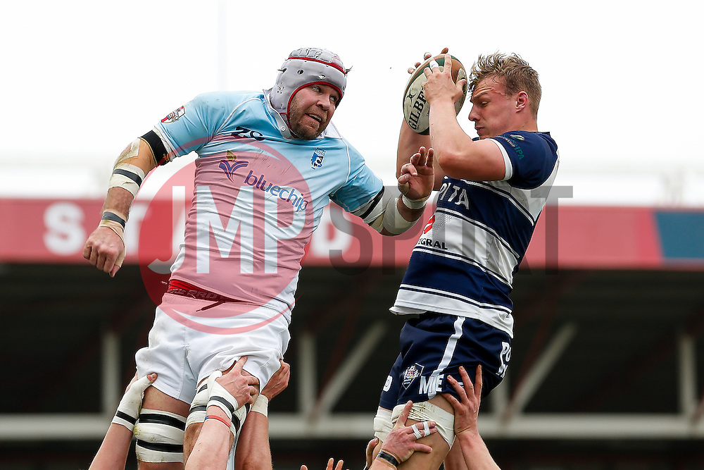 Bristol Rugby Number 8 Mitch Eadie wins a lineout - Photo mandatory by-line: Rogan Thomson/JMP - 07966 386802 - 29/03/2015 - SPORT - Rugby Union - Bristol, England - Ashton Gate Stadium - Bristol Rugby v Bedford Blues - Greene King IPA Championship.