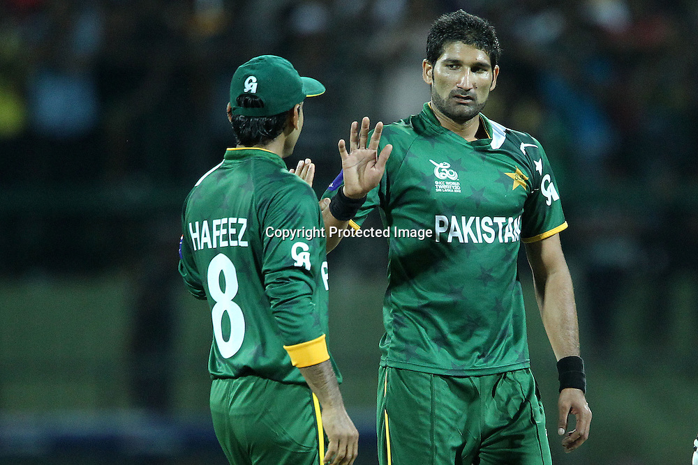 Sohail Tanvir celebrates the wicket of James Franklin during the ICC World Twenty20 Pool match between Pakistan and New Zealand held at the  Pallekele Stadium in Kandy, Sri Lanka on the 23rd September 2012<br /> <br /> Photo by Ron Gaunt/SPORTZPICS/PHOTOSPORT