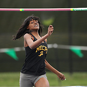 Shayla Broughton, Medgar Evers College Prep High School, winning the Girls High Jump during the 2013 NYC Mayor's Cup Outdoor Track and Field Championships at Icahn Stadium, Randall's Island, New York USA.13th April 2013 Photo Tim Clayton