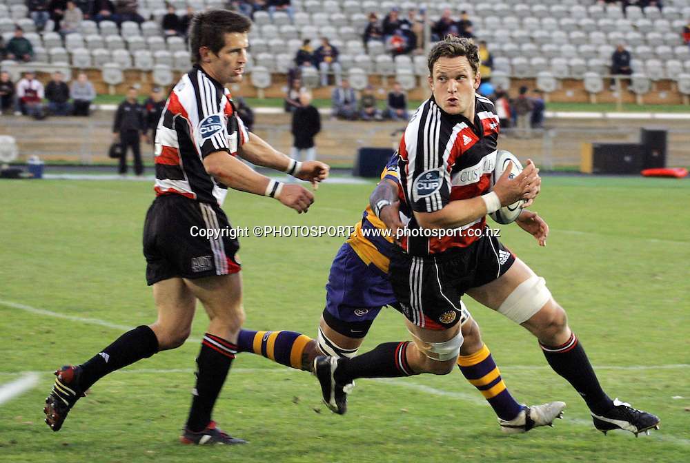 Counties lock Kristian Ormsby in action during the Air NZ Cup rugby union match between the Bay of Plenty Steamers and Counties Manukau at Bluechip Stadium, Mt Maunganui, on Saturday 16 September 2006. Bay of Plenty won the match 38-11. Photo: PHOTOSPORT<br />