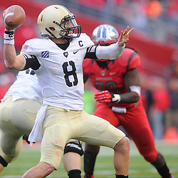 10 November 2012: Army Black Knights quarterback Trent Steelman (8) passes the ball during NCAA college football action between the Rutgers Scarlet Knights and Army Black Knights at High Point Solutions Stadium in Piscataway, N.J.. Rutgers defeated Army 28-7.