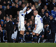 Javier Zanetti celebrates after the winning goal during the second leg of the round of 16 UEFA Champions League match at home to Chelsea at Stamford Bridge football stadium, London on March 16, 2010.