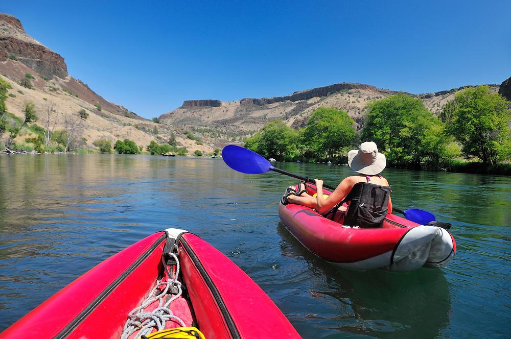 Inflatable Kayaks  rafting on Deschutes River, Central Oregon,Oregon,USA