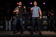 DALLAS, TX - MAY 10:  Stipe Miocic faces off with Junior dos Santos during the UFC 211 Ultimate Media Day at the House of Blues Dallas on May 10, 2017 in Dallas, Texas. (Photo by Cooper Neill/Zuffa LLC/Zuffa LLC via Getty Images)