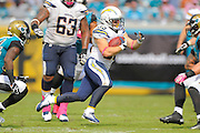 San Diego Chargers running back Danny Woodhead (39) runs upfield during an NFL game against the Jacksonville Jaguars at EverBank Field on Oct. 20, 2013 in Jacksonville, Florida. San Diego won 24-6.<br /> <br /> ©2013 Scott A. Miller
