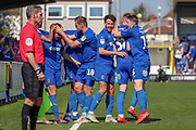 AFC Wimbledon striker Joe Pigott (39) celebrating after scoring goal to make it 1-0 during the EFL Sky Bet League 1 match between AFC Wimbledon and Bristol Rovers at the Cherry Red Records Stadium, Kingston, England on 19 April 2019.