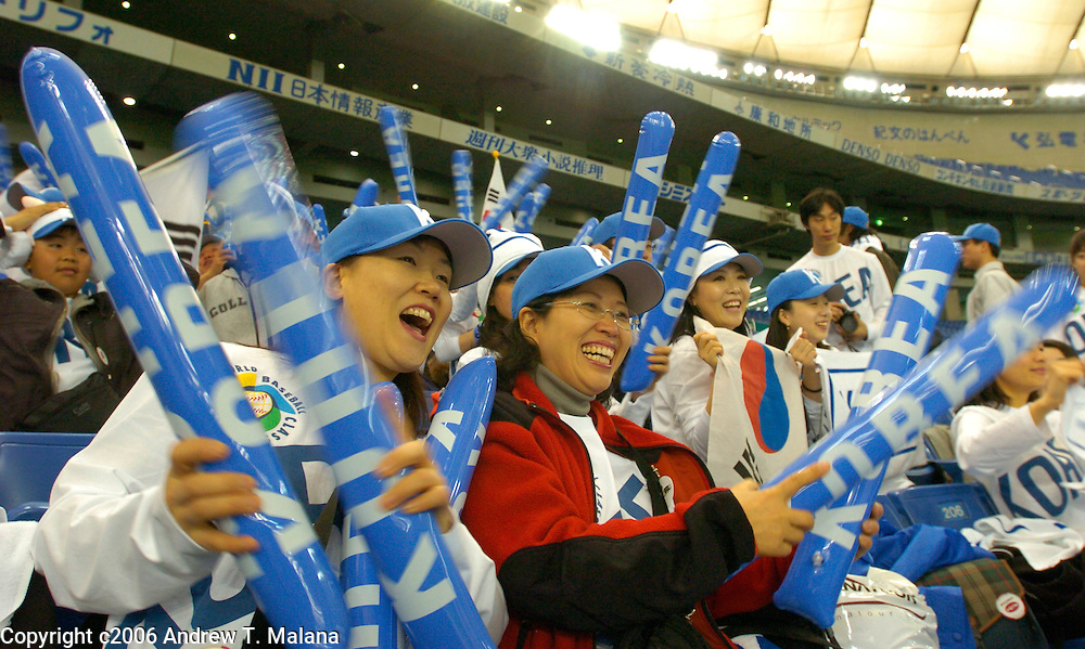 Team Korea fans cheer their favorite players during pre-game warmups before the start of the Korea/Chinese Taipei World Baseball Classic opening game at Tokyo Dome, Tokyo, Japan.