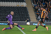 Abel Hernández (Hull City) shoots, but Carl Ikeme (Wolverhampton Wanderers) makes the save during the Sky Bet Championship match between Hull City and Wolverhampton Wanderers at the KC Stadium, Kingston upon Hull, England on 15 April 2016. Photo by Mark P Doherty.