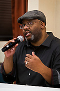 """Madison 365 CEO and Publisher Henry Sanders speaks on the panel """"The Hustle and the Successes"""" during the Black Excellence Youth Conference at the Best Western Plus Inntowner on Monday, Jan. 15, 2018."""