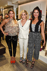 Left to right, Laura Pradelska, Ashley Roberts and Lara Fraser  at a party to launch Ashley Robert's new footwear range Allyn held ay Larizia, 74 St.John's Wood High Street, London England. 8 February 2017.