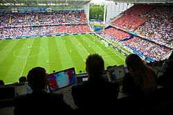 LENS, FRANCE - Thursday, June 16, 2016: Members of the press watch Wales against England during the UEFA Euro 2016 Championship Group B match at the Stade Bollaert-Delelis. (Pic by Paul Greenwood/Propaganda)