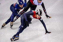 20-02-2018 KOR: Olympic Games day 11, PyeongChang<br /> 1000m vrouwen shorttrack / Lara Van Ruijven of the Netherlands, Elise Christie of Great Britain, Andrea Keszler of Hungary