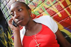 Teenager on mobile phone.