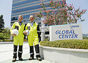 Project manager for Gina Krog Topside Project of Statoil Frode Haldorsen (L) and Project manager for Mariner Topside Project of Statoil, Stein Haaland pose in front of newly opened office of Statoil Korea at Okpo shipyard of Daewoo Shipbuilding and Marine Engineering (DSME) in Geoje, about 470 km (292 miles) southeast of Seoul, South Korea, August 12, 2014. Photo by Lee Jae-Won (SOUTH KOREA)  www.leejaewonpix.com