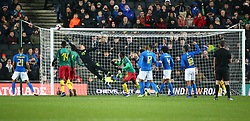 November 20, 2018 - Milton Keynes, United Kingdom - Ederson of Brazil  save from Jacques Zoua of Cameroon .during Chevrolet Brazil Global Tour International Friendly between Brazil and Cameroon at Stadiummk stadium , MK Dons Football Club, England on 20 Nov 2018. (Credit Image: © Action Foto Sport/NurPhoto via ZUMA Press)