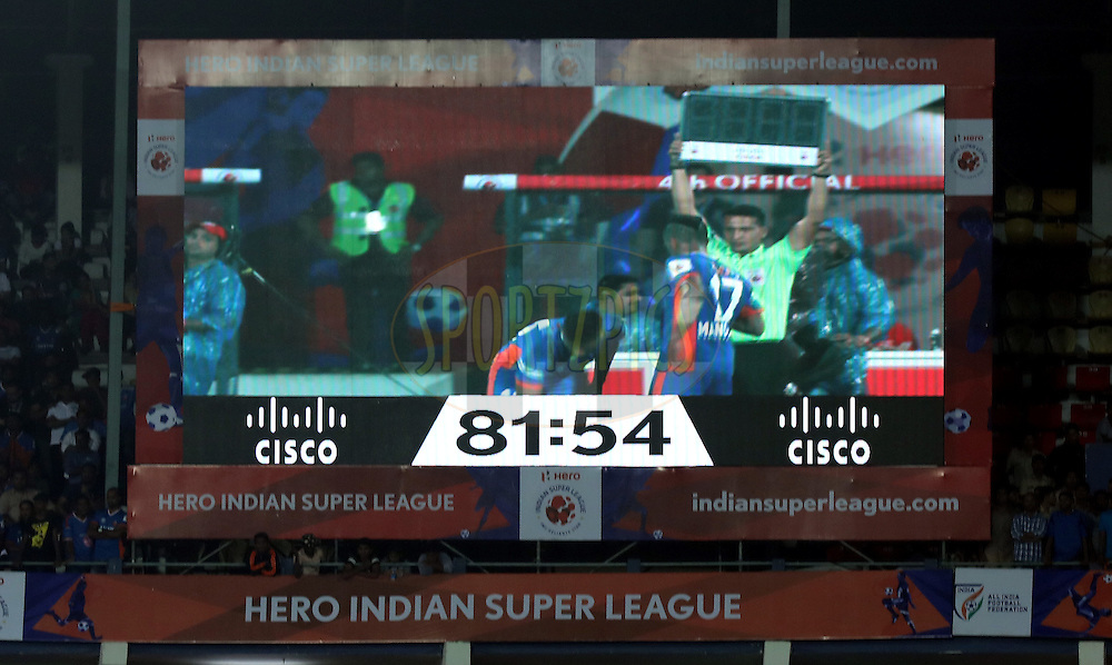 Cisco branding during match 8 of the Indian Super League (ISL) season 3 between FC Goa and FC Pune City held at the Fatorda Stadium in Goa, India on the 8th October 2016.<br /> <br /> Photo by Sandeep Shetty / ISL/ SPORTZPICS