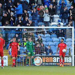 TELFORD COPYRIGHT MIKE SHERIDAN 16/2/2019 - GOAL. The inquest begins after Stockport's early opener during the Vanarama Conference North fixture between Stockport County and AFC Telford United at Edgeley Park