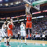 13 February 2013: Chicago Bulls power forward Carlos Boozer (5) dunks the ball during the Boston Celtics 71-69 victory over the Chicago Bulls at the TD Garden, Boston, Massachusetts, USA.