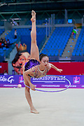 Shang Rong during qualifying hopp at the Pesaro World Cup 13 April 2018.  Rong is a gymnast from the Chinese Republic born in Liaoning in 2000. She debuted in the senior category in the 2015 season.