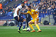 Callum Robinson battle with Boltons Liam Trotter during the Sky Bet Championship match between Bolton Wanderers and Preston North End at the Macron Stadium, Bolton, England on 12 March 2016. Photo by Pete Burns.