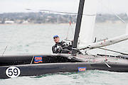 Frank Lavrson (DEN22)), race one of the A Class World championships regatta being sailed at Takapuna in Auckland. 11/2/2014