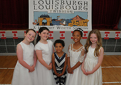 Local Louisburgh children in their Holy Communion costumes at the Louisburgh / Louisbourg Nova Scotia twinning event that took place in Louisburgh on sunday last from left Hazel Marie Hasting, Sam Anna Moran, Katie and Marina O&rsquo;Malley and Sarah Morahan.<br /> Pic Conor McKeown