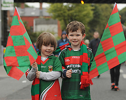 Aoife and Eoghan Garavan from Achill showing their support for Mayo at yesterday's All Ireland Semi Final against Kerry at Croke Park.<br /> Pic Conor McKeown
