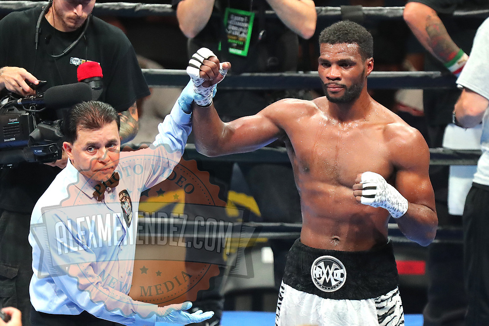Marcus Browne celebrates his decision win over Lenin Castillo during a Premier Boxing Champions fight on Saturday, August 4, 2018 at the Nassau Veterans Memorial Coliseum in Uniondale, New York.  (Alex Menendez via AP)