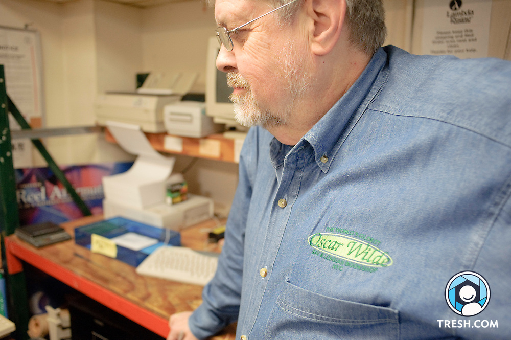 Deacon Maccubbin, owner of Lambda Rising, gives documents to Rainbow History Project, Sunday, January 24, 2010.