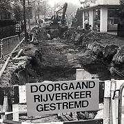 NLD/Huizen/19941012 - Rioleringswerkzaamheden hoek Havenstraat - Langestraat Huizen
