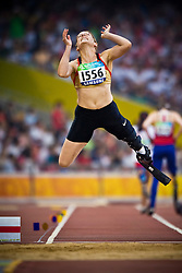 "BIENE Claudia of Germany competes in the women's F42 Long Jump during the Beijing 2008 Paralympic Games; National ""Bird's Nest"" Stadium, Beijing Olympic Green, China, 8th September 2008;"