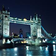 Tower bridge at night..London, England.