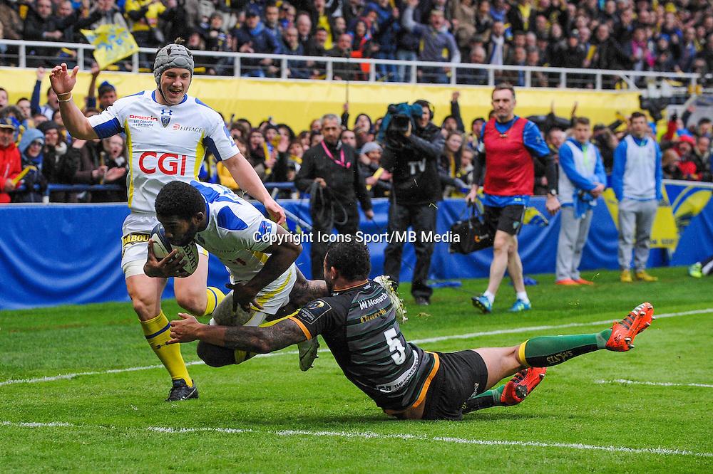 Essai Noa NAKAITACI - 04.04.2015 - Clermont / Northampton - 1/4Finale European Champions Cup<br />Photo : Jean Paul Thomas / Icon Sport