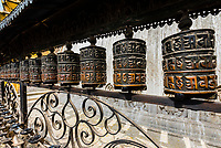 Prayer wheels, Swayambhunath Stupa. The temple sits atop a hill west of Kathmandu, Nepal.