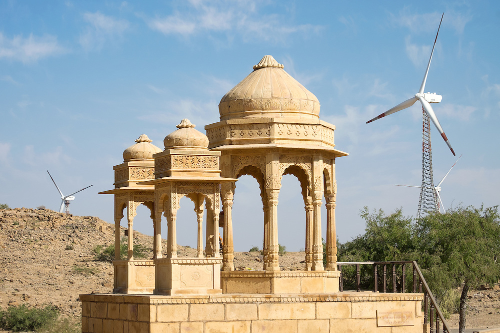 Bada Bagh and Windmill at Jaisalmer of Rajasthan, India