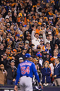 San Francisco Giants fans cheer as Chicago Cubs relief pitcher Aroldis Chapman (54) leaves the field during Game 3 of the NLDS at AT&T Park in San Francisco, Calif., on October 10, 2016. (Stan Olszewski/Special to S.F. Examiner)