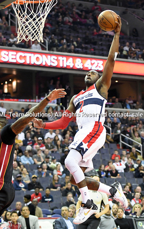WASHINGTON, DC - APRIL 8: Washington Wizards guard John Wall (2) scores in the first half against the Miami Heat on April 8, 2017, at the Verizon Center in Washington, D.C.  The Miami Heat defeated the Washington Wizards 106-103.  (Photo by Icon Sportswire)