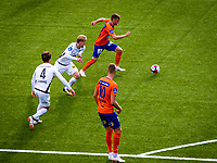 1. divisjon fotball 2018: Aalesund - Åsane (1-0). Aalesunds Adam Örn Arnarson med ballen i kampen i 1. divisjon i fotball mellom Aalesund og Åsane på Color Line Stadion.